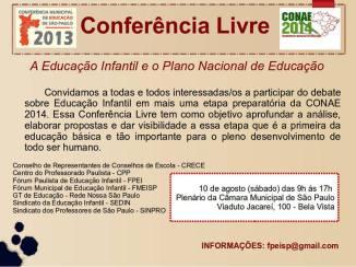 Conferência Livre: A Educação Infantil e o Plano Nacional de Educação