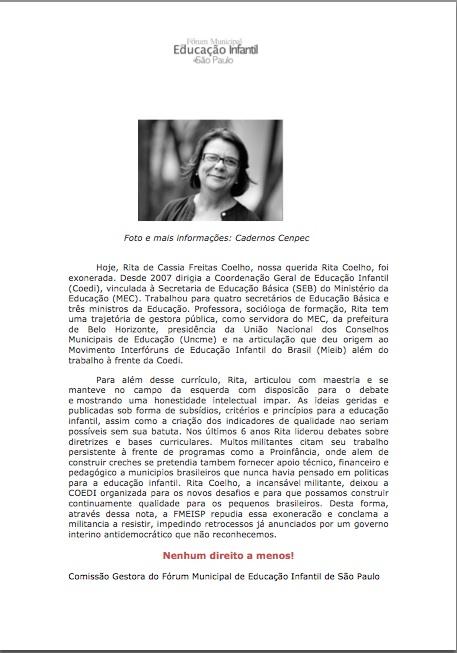 Poscionamento FEMEISP_exoneracao Rita Coelho